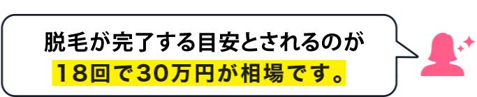 脱毛が完了する目安とされるのが18回で30万円が相場です。