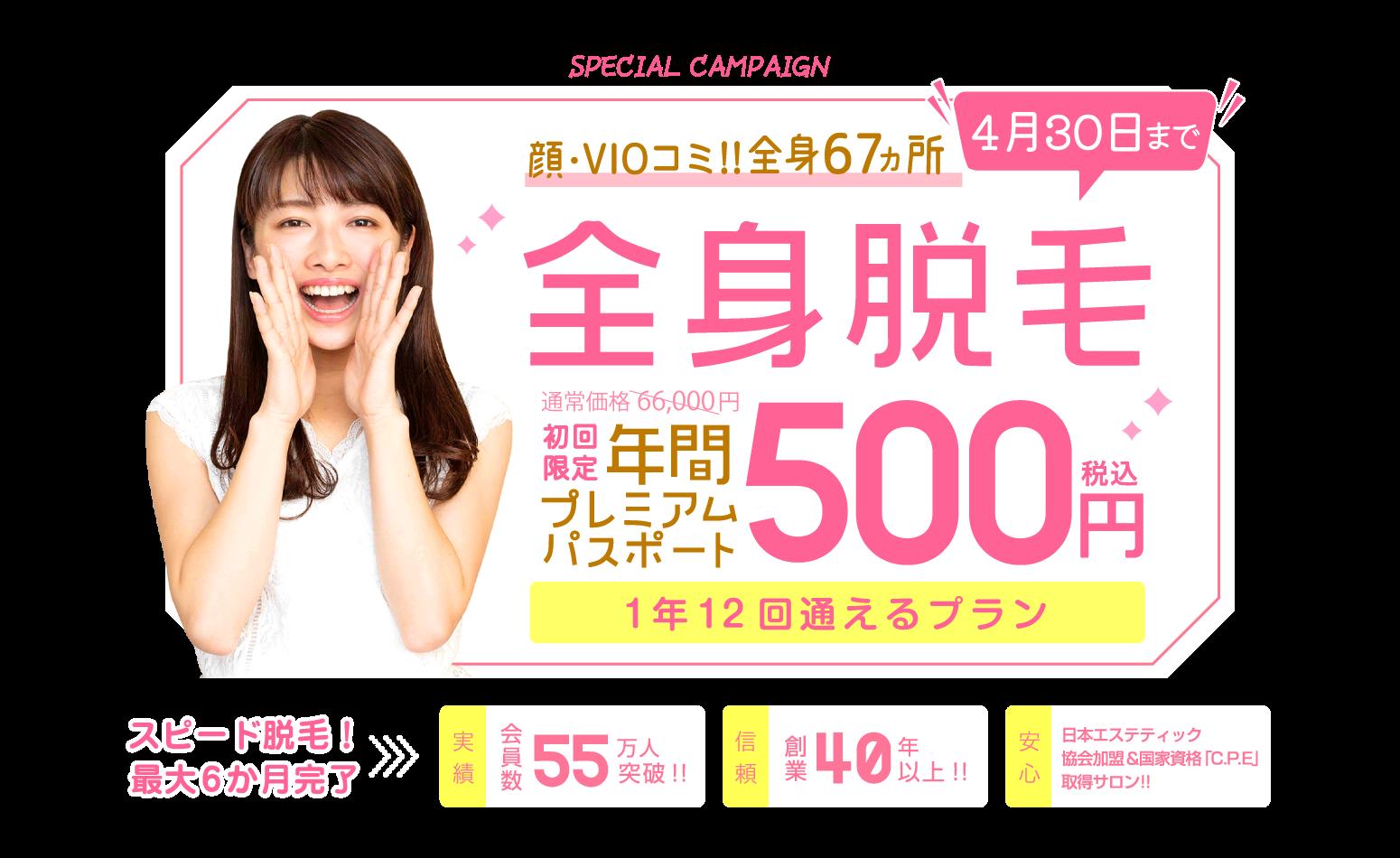 顔からVIOを含む全身脱毛が500円今年最後のビッグセールキャンペーン!1年12回通えるプレミアムパス