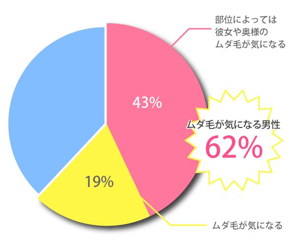女性のムダ毛が気になると答えた男性は62%